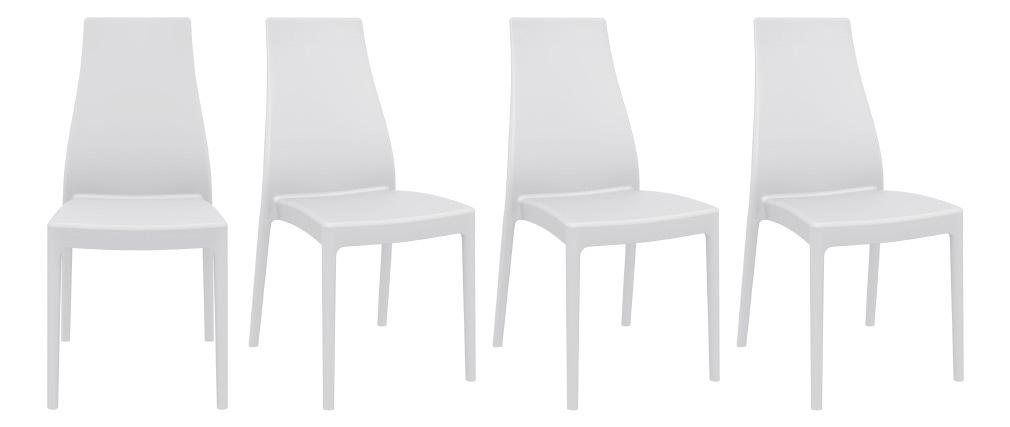 Sedie di design impilabili da interno/esterno bianche (set di 4) CONDOR