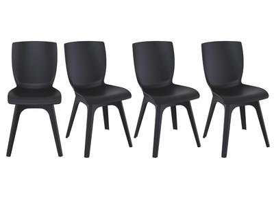 Sedie di design nere da internoesterno (set di 4) SWAN