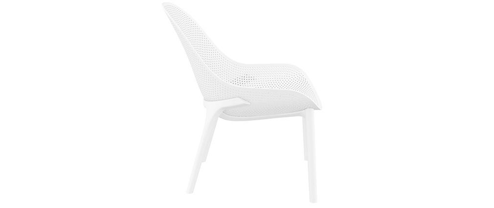 Sedie lunghe impilabili bianche interno / esterno (gruppo di 4) OSKOL