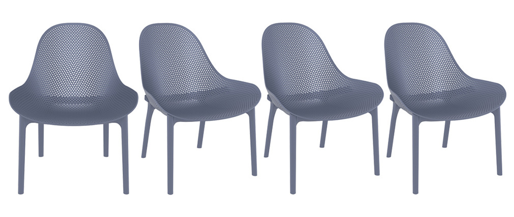 Sedie lunghe impilabili grigie interno / esterno (gruppo di 4) OSKOL