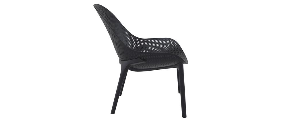 Sedie lunghe impilabili nere interno / esterno (gruppo di 4) OSKOL