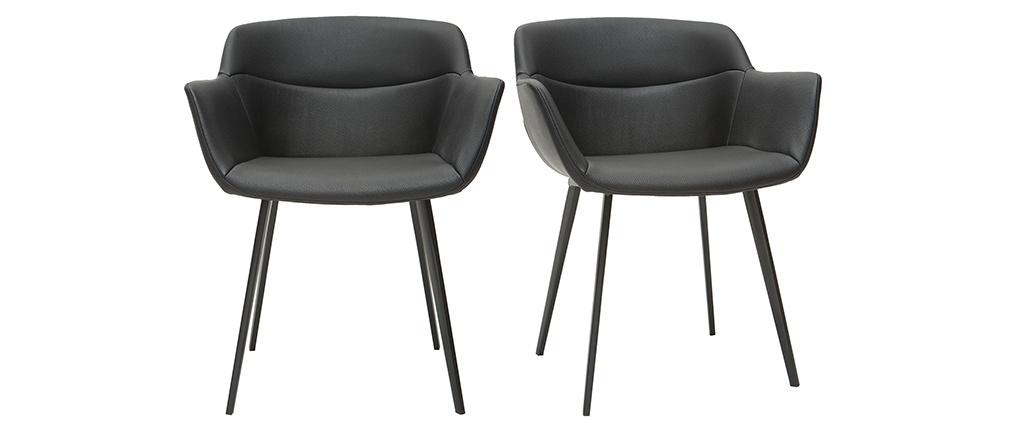 Sedie nere di design (set di 2) NERO