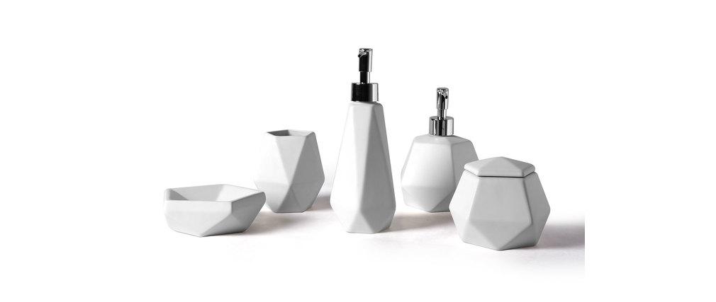 Set da bagno design in ceramica bianca cubic   miliboo