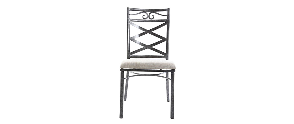 Set di 2 sedie barocche in metallo colore nero VENEZIA