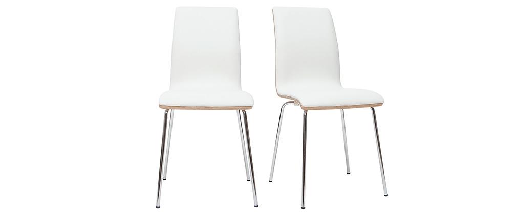 Set di 2 sedie bianco e legno chiaro con piedi metallo DELICACY