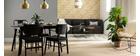 Set di 2 sedie in legno nero e tessuto grigio scuro SHELDON