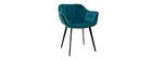 Set di 2 sedie in velluto blu petrolio e piedi metallo nero BURTON