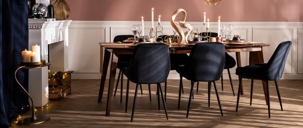 Set di 2 sedie in velluto nero HOLO