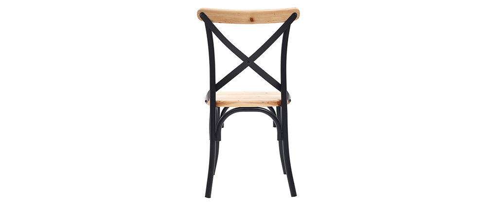 Set di 2 sedie industriali in metallo nero e legno JAKE