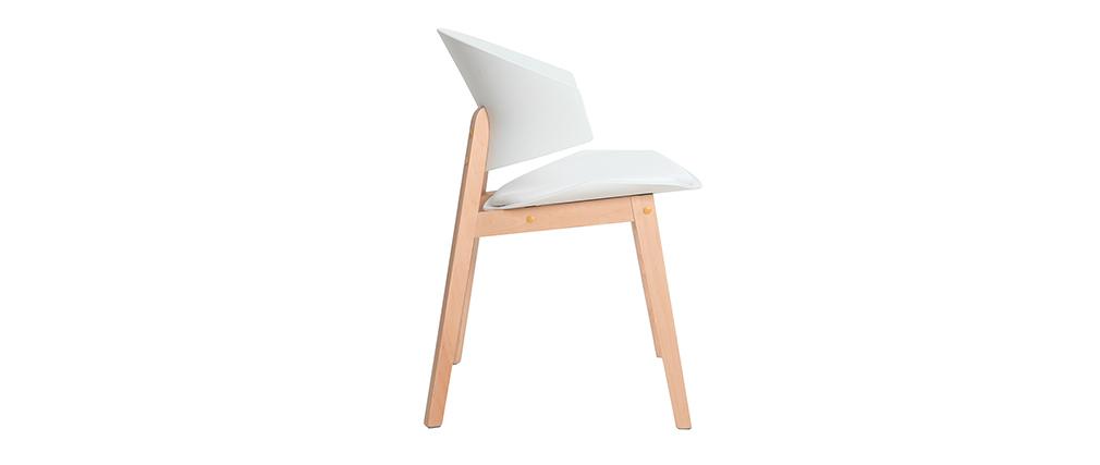 Set di 2 sedie scandinave bianche e legno chiaro BLOEM