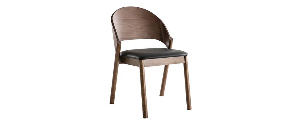 Set di 2 sedie vintage noce e nero AVALON