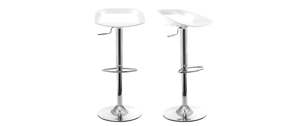 Set di 2 sgabelli da bar design bianchi PHENIX