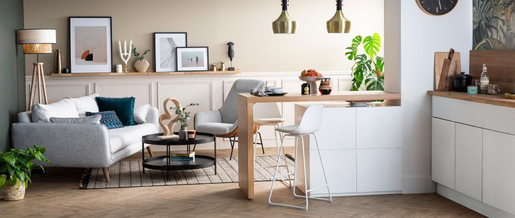 Set di 2 sgabelli da bar design bianchi piedi metallo 65 cm FRANZ