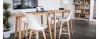 Set di 2 sgabelli da bar design colore bianco e legno PAULINE