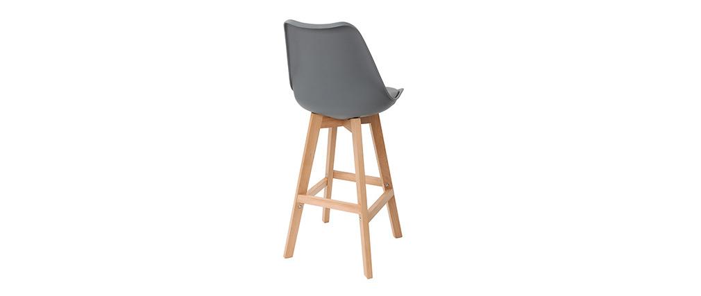 Set di 2 sgabelli da bar design colore grigio e legno PAULINE