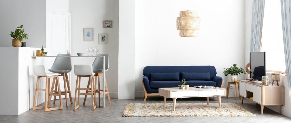 Set di 2 sgabelli da bar design colore nero e legno PAULINE
