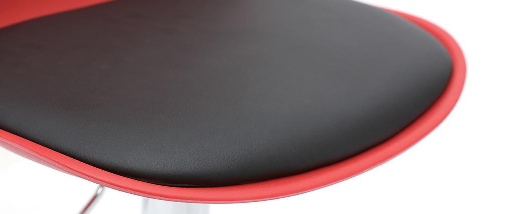 Set di 2 sgabelli da bar design colore rosso e nero STEEVY