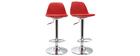 Set di 2 sgabelli da bar design colore rosso STEEVY