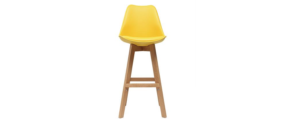 Set di 2 sgabelli da bar design giallo e legno 65cm PAULINE