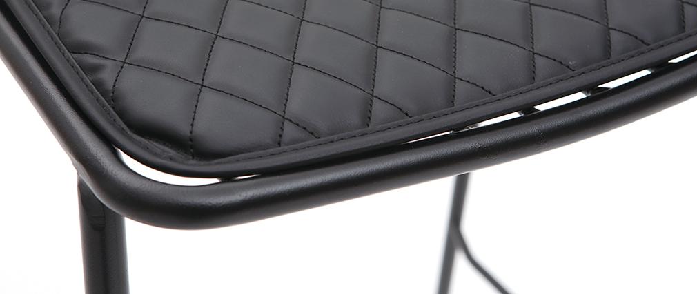 Set di 2 sgabelli da bar design in metallo nero con cuscino 75 cm FEELING