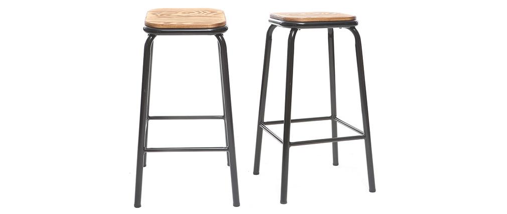 Set di 2 sgabelli da bar design nero e legno scuro 65 cmMEMPHIS
