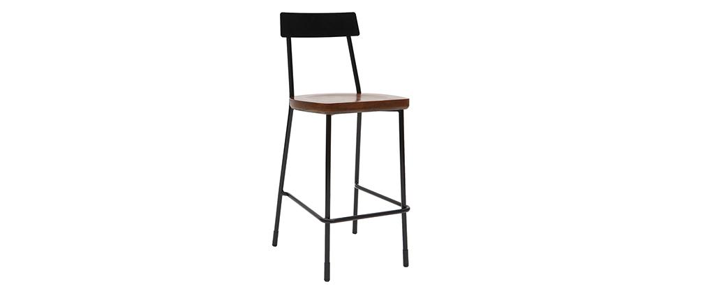 Set di 2 sgabelli da bar industriali metallo e legno nero 65 cm OUDIN