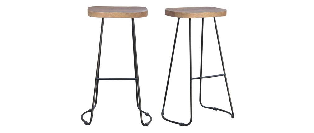 Set di 2 sgabelli da bar metallo nero e legno H75cm RUNKO
