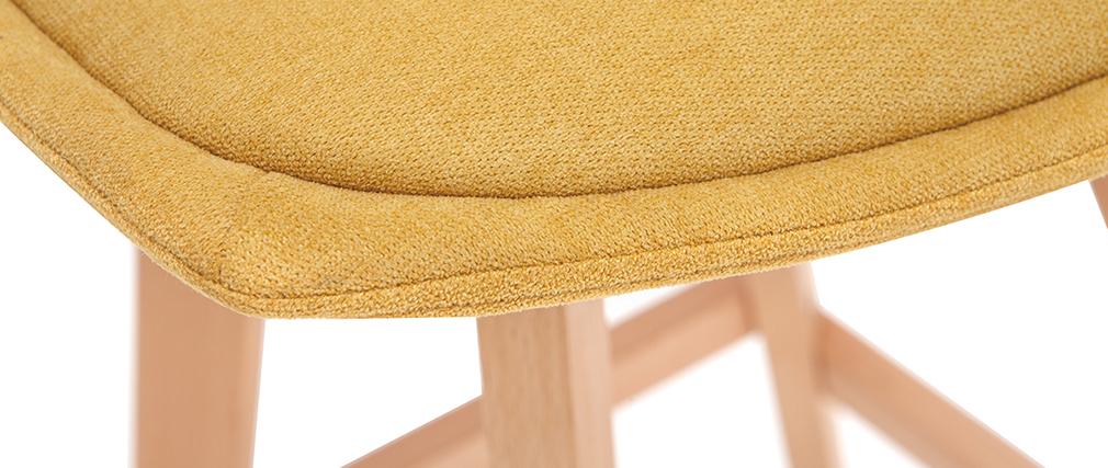 Set di 2 sgabelli da bar scandinavi effetto velluto giallo senape 65 cm MATILDE