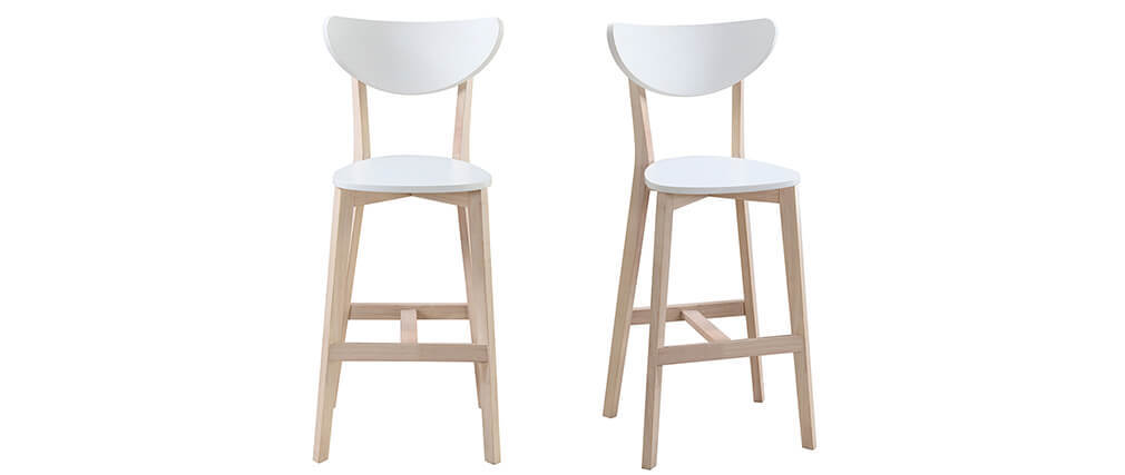 Set di 2 sgabelli da bar scandinavo bianco e legno 65cm LEENA