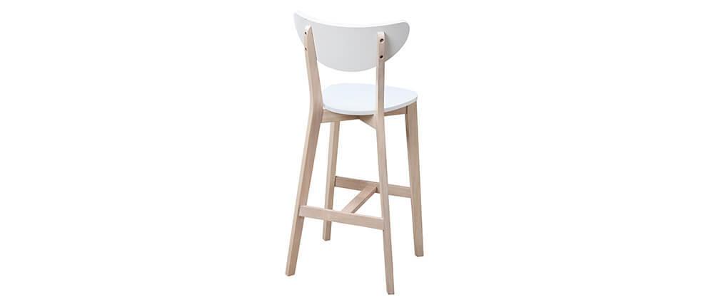 Set di 2 sgabelli da bar scandinavo bianco e legno 75cm LEENA