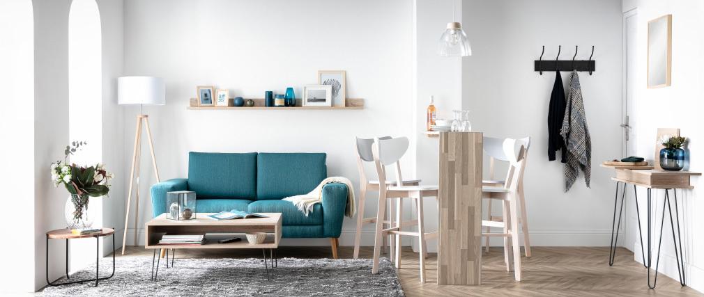 Set di 2 sgabelli da bar scandinavo grigio e legno 65cm LEENA