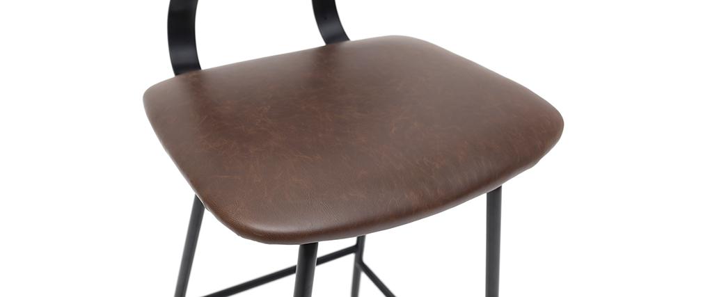Set di 2 sgabelli da bar vintage marrone con piedi in metallo 65cm LAB