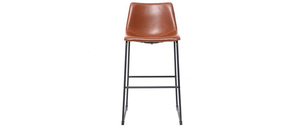 Set di 2 sgabelli da bar vintage PU marrone chiaro 73cm NEW ROCK