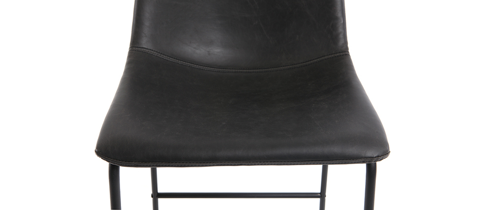 Set di 2 sgabelli da bar vintage PU nero 73cm NEW ROCK