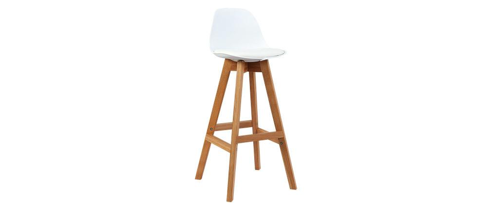 Set di 2 sgabelli design bianco e legno 65cm MINI PAULINE