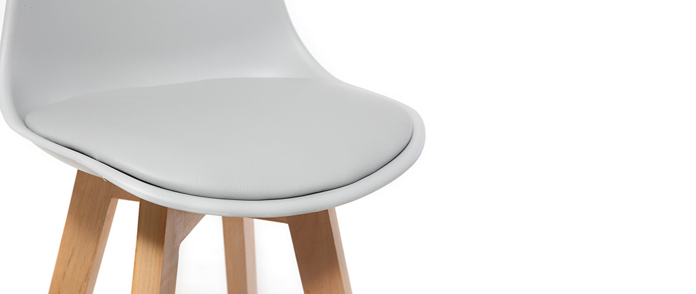 Set di 2 sgabelli design grigio chiaro e legno 65cm MINI PAULINE