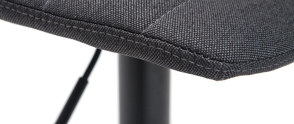 Set di 2 sgabelli regolabili tessuto e metallo grigio scuro SAURY