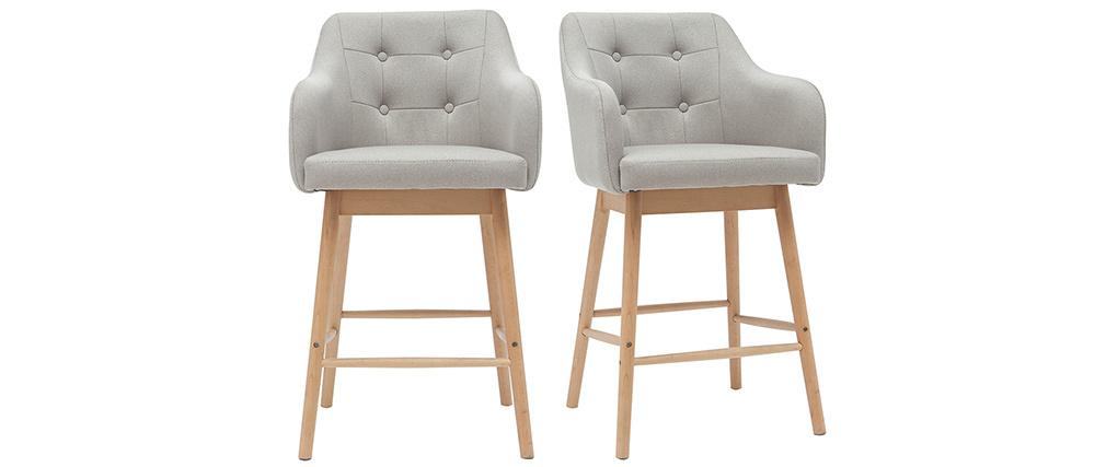 Set di 2 sgabelli scandinavi grigio chiaro e legno H64 cm BALTIK