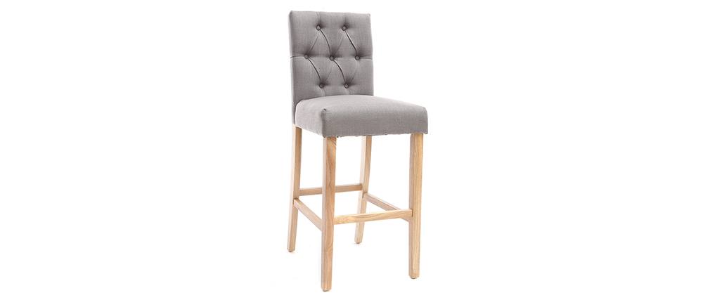 Set di 2 sgabelli/sedie da bar in tessuto Grigio chiaro 75cm RIVOLI