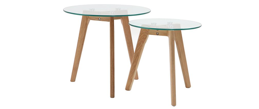 Set di 2 tavolini in legno di castano DAVOS