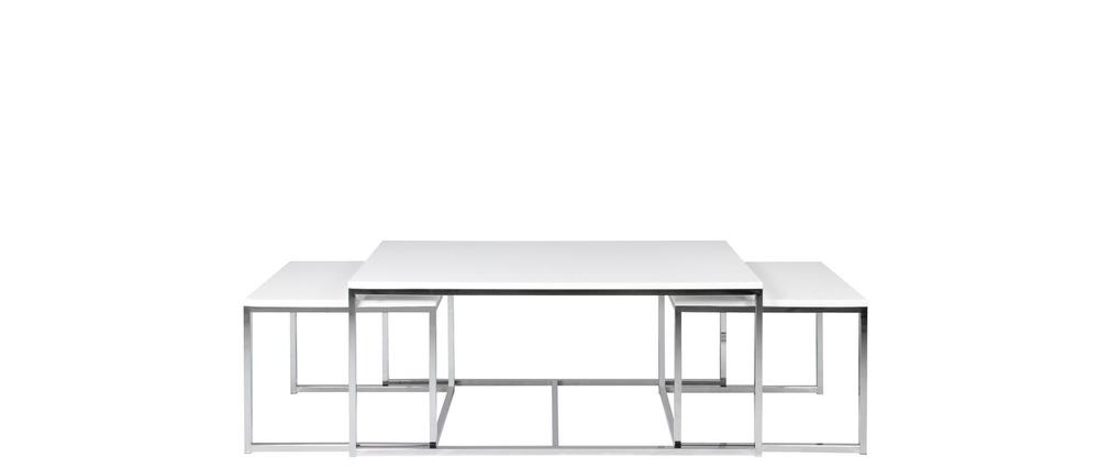 Set di 3 tavolini design metallo bianco melha miliboo for Tavolini design