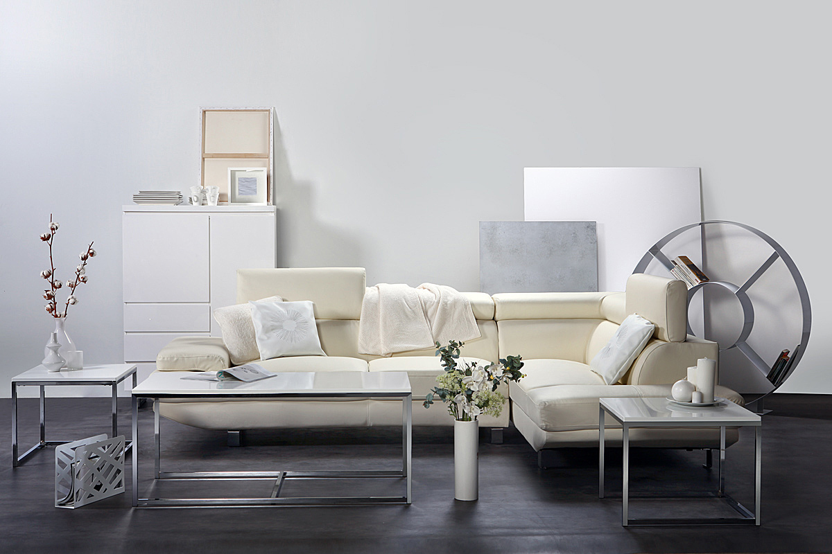 Set di 3 tavolini design metallo bianco melha miliboo for Tavolini di design