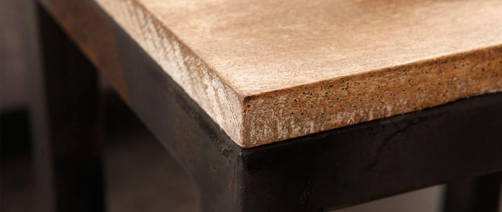 Set di 3 tavolini stile industriale in metallo e legno FACTORY