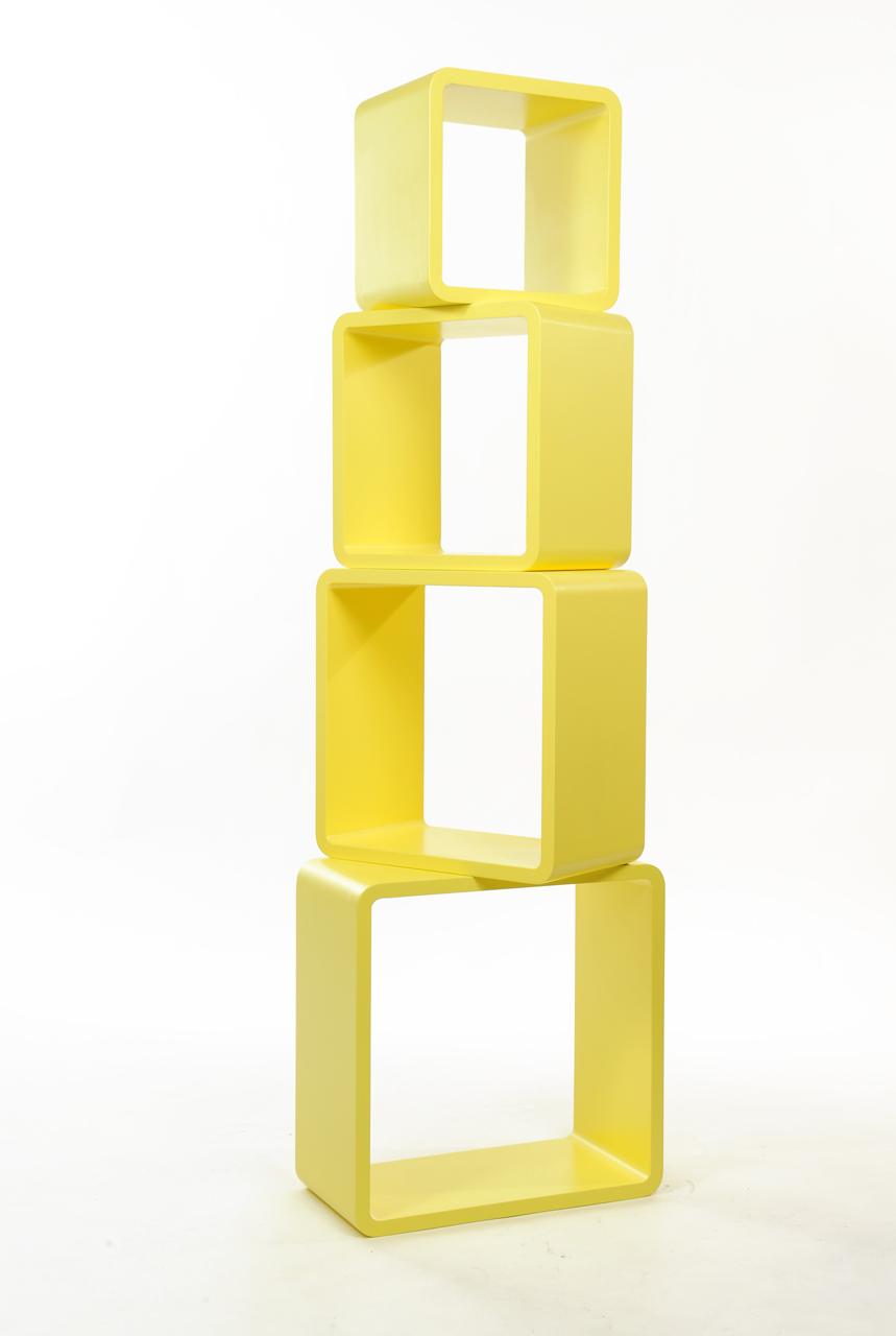 Set di 4 mensole quadrate POP colore giallo