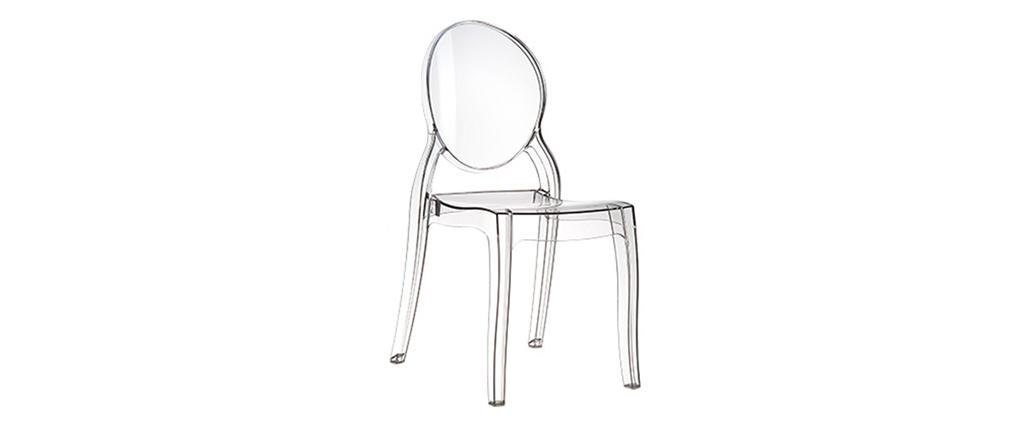 Set di 4 sedie design medaglione trasparente LOUISON