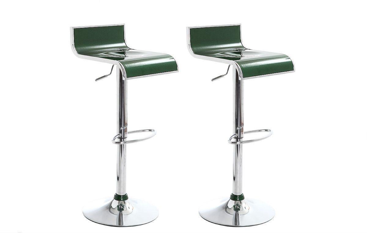 Sgabelli da bar / cucina verde scuro design WAVES (gruppo di 2) - Miliboo