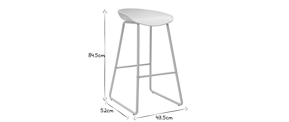 Sgabelli da bar design bianchi con piedi in metallo (gruppo di 2) PEBBLE