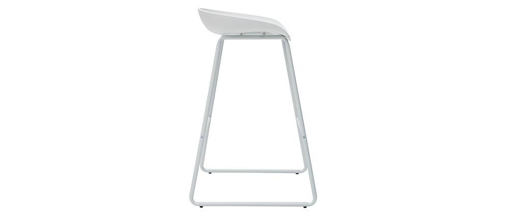 Sgabelli da bar design bianchi con piedi in metallo (set di 2) PEBBLE