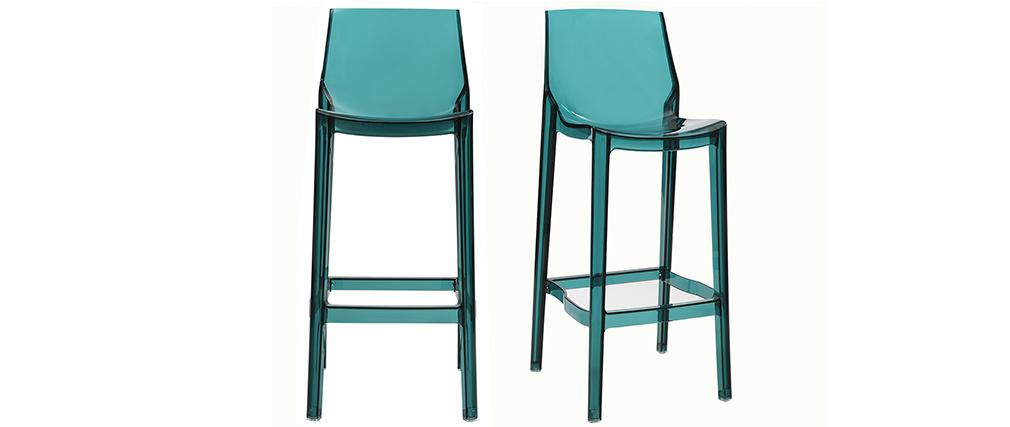 Sgabelli da bar design blu trasparente gruppo di 2 YLAK