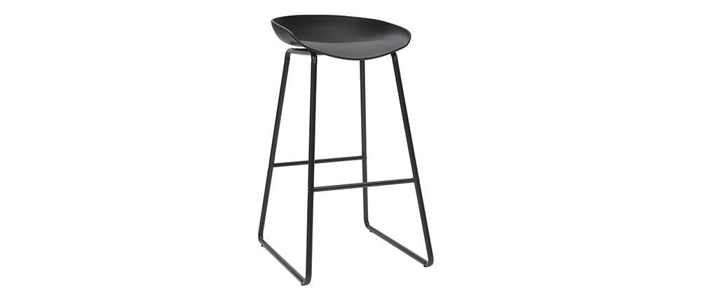 Sgabelli da bar design neri con piedi in metallo (gruppo di 2) PEBBLE